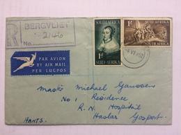 SOUTH AFRICA 1952 Cover Registered Bergvliet Air Mail To Royal Naval Hospital Gosport England - Afrique Du Sud (...-1961)