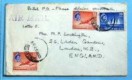 Malaya Singapur  Best  Air Mail Cover  1956 - Gran Bretaña (antiguas Colonias Y Protectorados)