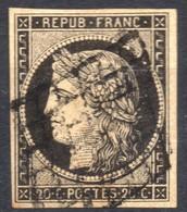 1849 CERES N° 3 NOIR SUR JAUNE OBLITERE GRILLE COTE > 60 € - 1849-1850 Ceres
