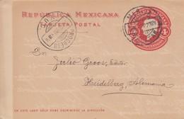1910: Post Card Yucatan To Heidelberg - Mexique