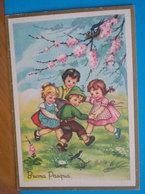 Auguri Buona Pasqua  Bambini Girotondo Illustrata Mazzini CARTOLINA  Viaggiata 1965 - Pasqua