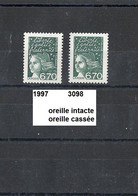Variété De 1997 Neuf** Y&T N° 3098 & 3098a Typ1 & Typ2 - Varieteiten: 1990-99 Postfris