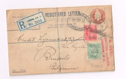 Entier à 2 Pence,1penny Sur Recommandé De London à Bruxelles - Postwaardestukken