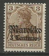 German Offices Morocco - 1911 Germania Overprint  & Surcharge 3c/3pf MH *  Mi  46 - Offices: Morocco