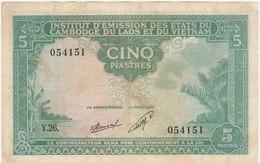 5 PIASTRES 1953 POUR LE LAOS - Indochine