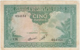 5 PIASTRES 1953 POUR LE LAOS - Indochina