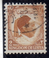 UNITED KINGDOM OF LIBYA REGNO UNITO DI LIBIA 1952 RE IDRISS KING MILLS 2m USATO USED OBLITERE' - Libië