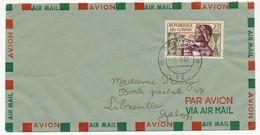 """CONGO - Poste Aérienne - 25f. Surcharge Inversée """"COURRIER AERIEN LEOPOLDVILLE Juillet 1960, Sur Enveloppe - Congo - Brazzaville"""