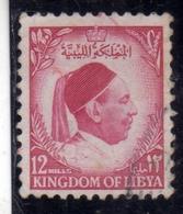 UNITED KINGDOM OF LIBYA REGNO UNITO DI LIBIA 1952 RE IDRISS KING MILLS 12m USATO USED OBLITERE' - Libië