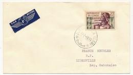 """CONGO - Poste Aérienne - 25f. Surchargé """"COURRIER AERIEN LEOPOLDVILLE Juillet 1960, Sur Enveloppe - Congo - Brazzaville"""