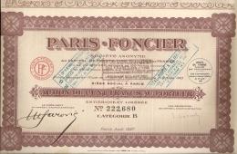 ACTION PARIS FONCIER De CENT FRANCS AU PORTEUR - PARIS AOÛT 1927 - Actions & Titres