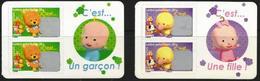 C'est Une Fille / C'est Un Garçon 2008 -  2 Paires Issues De Carnets - YT 163 Et 164 Neufs** - France