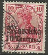 German Offices Morocco - 1911 Germania Overprint  & Surcharge 10c/10pf Used  Mi  48 - Offices: Morocco