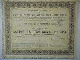 MINES De PLOMB ARGENTIFERE De La HAUTE LOIRE 1875 - Aandelen