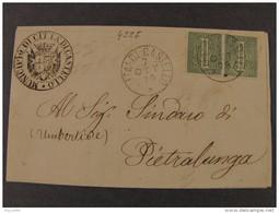 """4227 ITALIA Regno-1866- """"T 14 Cifra"""" C. 1 Coppia CITTA' DI CASTELLO>PIETRALUNGA (descrizione) - 1861-78 Vittorio Emanuele II"""
