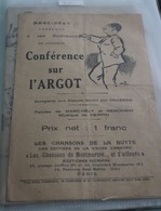 """Partition De """"Conference Sur L'argot"""" - Partitions Musicales Anciennes"""