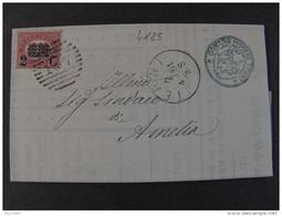 """4125 ITALIA Regno-1878-""""Ondine"""" C. 2 Su 10,00 TERNI>AMELIA (descrizione) - 1861-78 Vittorio Emanuele II"""