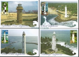 Sri Lanka 2018 Lighthouses Set Of 4 Maxi Card, Phare, Maximum - Lighthouses