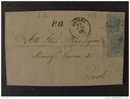 """4273 ITALIA Regno-1867- """"L 26 Effigie"""" C. 20 ANCONA>VEROLI (descrizione) - 1861-78 Vittorio Emanuele II"""