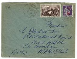 Lettre Obl.15.01.1943  Sur 497 Et N°478-  Yvert  -au Profit Du Secours National Et Type Paix - Francia