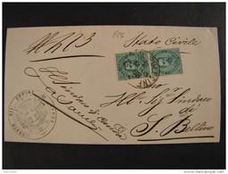"""725 ITALIA Regno-1879- """"Effigie"""" C. 5 Coppia BADIA POLESINE>SAN BELLINO (descrizione) - Marcophilia"""