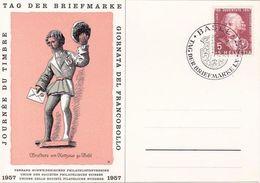 "Schweiz Suisse 1957: BPK CPI ""Briefbote Basel"" Zu 168 Mi 648 Yv 597 O BASEL 1.XII.1957 TAG DER BRIEFMARKE (Zu CHF 12.00) - Journée Du Timbre"