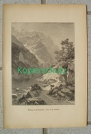 398 Steffan Klöntalersee Klönthalsee Panorama Bergsee Kunstblatt Druck 1886 !! - Gegraveerde Prenten