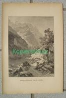398 Steffan Klöntalersee Klönthalsee Panorama Bergsee Kunstblatt Druck 1886 !! - Estampes