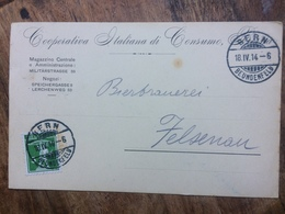 SWITZERLAND 1914 Postcard Bern To Felsenau - Copertiva Italiana Di Consumo Berna - Storia Postale