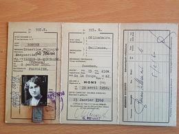 1958 Délivré A MONS Carte D'identité étranger Valable 2 Ans à HOSCHE Ernestine Félicité Française Né Le 02/01/1891 - Vieux Papiers