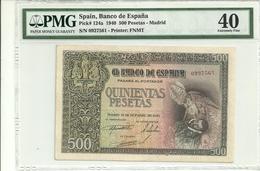 Spain 500 Pesetas 1940 P124a Graded 40 (Extremely Fine) By PMG - [ 3] 1936-1975: Regime Van Franco