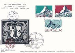 """Schweiz Suisse 1966: BPK CPI """"Matterhorn & Finsteraarhorn"""" Mit O BASEL 1.XII.66 TAG DER BRIEFMARKE (Zu CHF 5.00) - Escalada"""