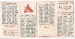 Calendrier Publicitaire Offert Par La Ruche, Société Mutuelle D'assurance Contre La Grèle, 1937-1938 (agriculture) - Calendars