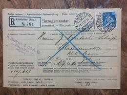 SWITZERLAND 1922 Registered Altstetten Einzugsmandat - Catchment Mandate To Altikon - Switzerland