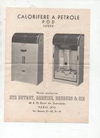 Paris 10e : Quai De Jemappes : Notice CALORIFERE A PETROLE POD (suède) (PPP18258) - Publicités