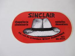 Autocollant Vintage Chapellerie Sinclair Dunkerque 12,5 Cm / 6,5 Cm - Stickers
