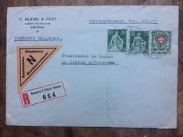 SWITZERLAND 1938 Registered Geneve To Lausanne - + Nachnahme Sticker - Switzerland