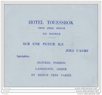 Ile Maurice - HÔTEL  TOUESSROK  - Trou D ´ Eau Douce - Huîtres - Poisson - Langouste - Prix De La Pension - 12 X 1 - Mauricio