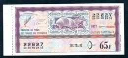 LOTERIE NATIONALE 1977 - TRANCHE N° 13 = ZODIAQUE ( SAGITTAIRE ) / BILLET ENTIER SUPERBE Complet Souche VOIR  2 SCAN - Billets De Loterie