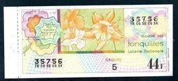LOTERIE NATIONALE 1977 - TRANCHE N° 16 = JONQUILLES ( FLEUR ) / BILLET ENTIER SUPERBE Complet De Sa Souche VOIR  2 SCAN - Billets De Loterie