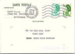 FRANCE - CP ENTIER POSTAL LIBERTE DE GANDON 2.00  + COMPL. AFFR. 0.20 - Ste COLOMBE LA COMMANDERIE EURE 20.02.1989  / 1 - Postwaardestukken