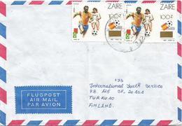 DR Congo Zaire 1990 Kinshasa Limete World Cup Football Soccer Spain 100Z On 25K Overprint Cover - 1990-96: Oblitérés