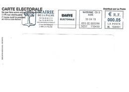 EMA ML 108461 Aude + Flamme La Palme Sur Env Carte électorale à 0.05€ - Postmark Collection (Covers)