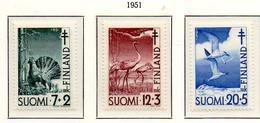PIA - FINLANDIA  - 1951 : Pro Tubercolotici - Uccelli  - (Yv 379-81) - Primo Soccorso