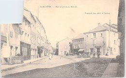 FRANCE - CP  SAINT AGREVE RUE ET PLACE DU MARCHE - 27.4.1905 - TIMBRE DÉCOUPÉ / 1 - Saint Agrève