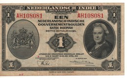 """NETHERLANDS INDIES  1  Gulden """"Queen Wilhelmina"""" P111a Dated 2.3.1943    VF - Nederlands-Indië"""