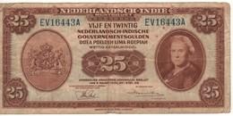 """NETHERLANDS INDIES  25  Gulden """"Queen Wilhelmina"""" P115a Dated 2.3.1943    F - Indie Olandesi"""