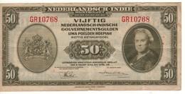 """NETHERLANDS INDIES    50  Gulden """"Queen Wilhelmina"""" P116a Dated 2.3.1943   VF - Indie Olandesi"""