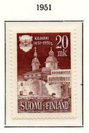 PIA - FINLANDIA - 1951  : 3° Centenario Della Città Di Kajaani - Chiesa E Municipio -   (Yv  378) - Neufs