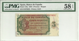 Spain 5 Pesetas 1938 P110a Graded 58 EPQ (Choice About Uncirculated) By PMG - [ 3] 1936-1975 : Régimen De Franco